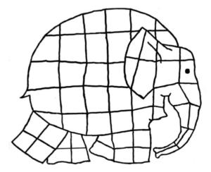 Un éléphant dessiné et découpé en carrées réguliers