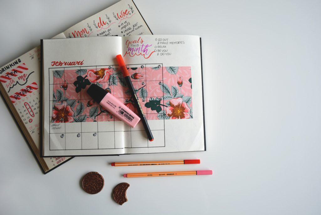 planninig mensuel dans un bullet journal