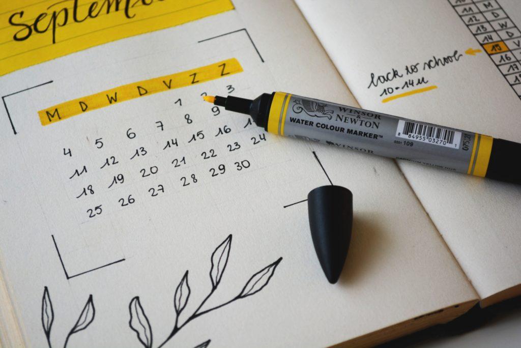 planning mensuel dans un bullet journal