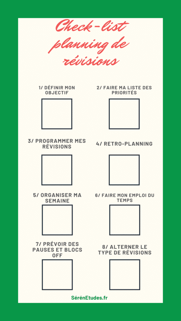 check-list planning revisions efficace